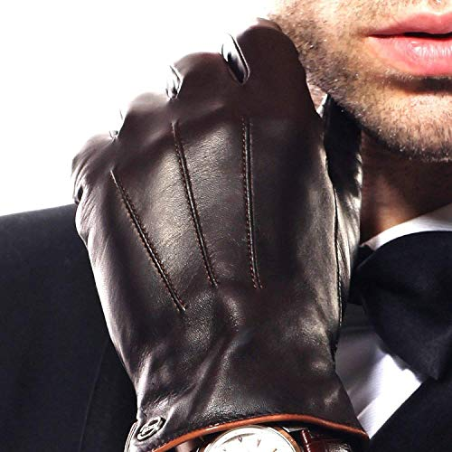 Elma Men Touchscreen Winter Leather Glove Lining Cashmere (9.5, Brown, EM011NR1)