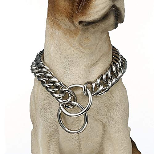 LPJ Collar Perro Oro Perro Fuerte Plata/Oro Cadena Collares 16/19mm Ancho Doble Curva Cadenas Enlace joyería de Acero Inoxidable del Animal doméstico 24 Pulgadas 16 mm de Plata