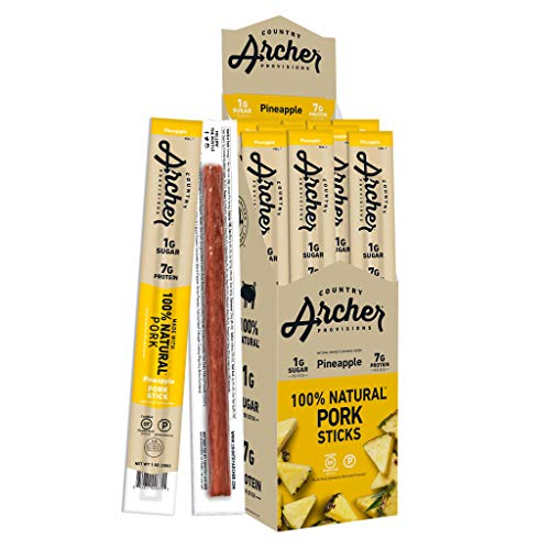 Pineapple Pork Meat Sticks by Country Archer | Antibiotic Free | Gluten Free | 18 Count