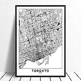 Leinwanddruck,Toronto Schwarz Weiß Benutzerdefinierte Welt