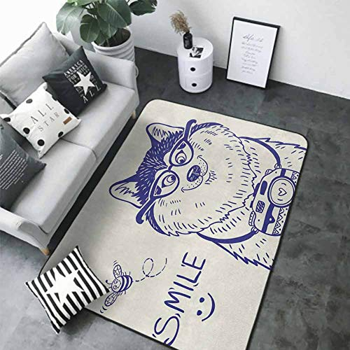 Anti-Slip Coffee Table Floor Mats Alaskan Malamute,Cartoon Style Smart Puppy with Glasses Photo Camera and Bee Smile Doodle,Blue White 84 x 60 in Best Floor mats