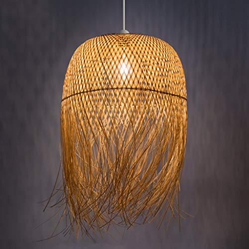 Bambus Kronleuchter Handgewebte Pendelleuchte E27 Retro Restaurant Schlafzimmer Rattan Lampenschirm Pendellampe Küche Wohnzimmer Dekorative Beleuchtung Esstischlampe,62 * 45cm