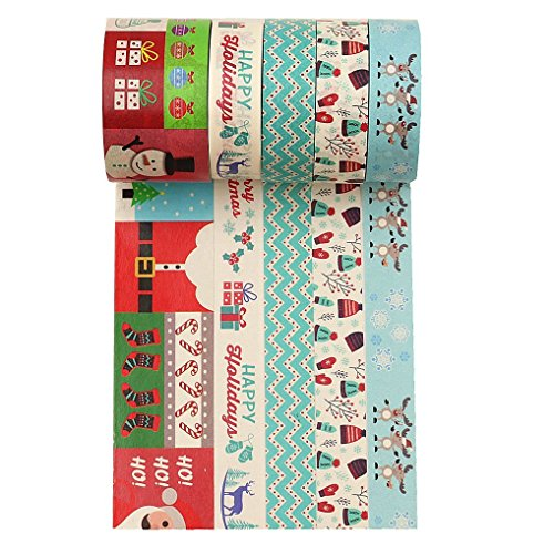 Wise Bird Christmas Washi Tape, Christmas Decoration, Santa, Snowman, Wave, Christmas Deer Pattern, Christmas Gift Wrap, Blue Red Colored Washi Tape for School Office - W12