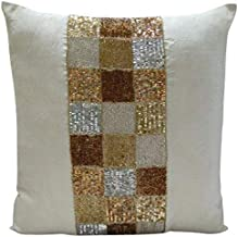 Ivory Cushion Covers 45x45 cm, Handmade Ivory Cushion Cases, Metallic Sequins & Beaded Cushions Cover, Square Silk Throw P...
