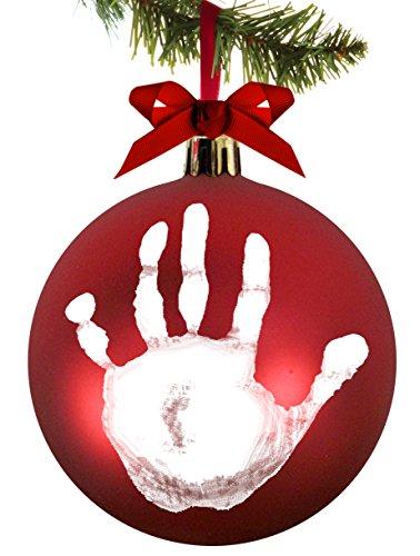 Pearhead 50017 Pallina di Natale in Plastica, Decorazione Natalizia Albero Natale da Appendere con Kit Impronta, Fiocco Rosso