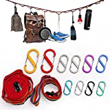 Pasking Outdoor Camping Lanyard with Hooks, Camp Hanging Rope Tent Accessories Campsite Clothesline...