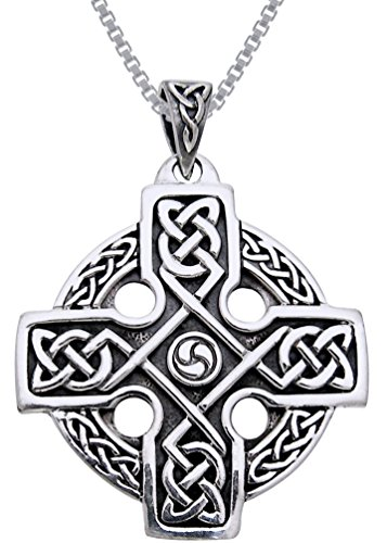 Jewelry Trends Celtic Trinity Knot Knights Templar Cross Sterling Silver Pendant Necklace 18'