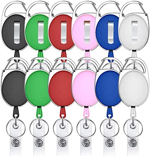 Retractable Badge Holders Viaky 12 Pack Badge Carabiner Reel Clips with Belt Clip and Key Ring product image