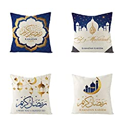 "【Perfect Size】4 pieces of 18"" x18"" Blue Ramadan Kareem throw pillow covers without inserts, perfect for 20""x20"" insert. There might be a 0.4 - 0.7 inch size difference due to hand made measuring and sewing, please kindly understand. 【Superior Materia..."