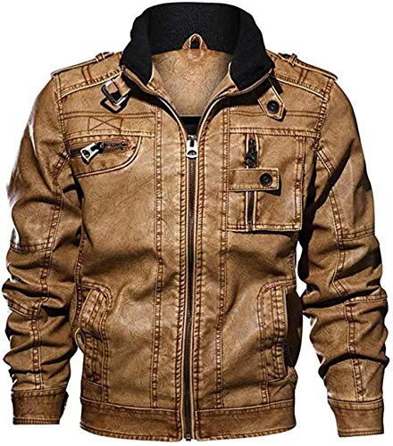 RBELEF Fashion Mens Jacket Pure Color Zipper Stand Collar Imitation Leather Coat Tops