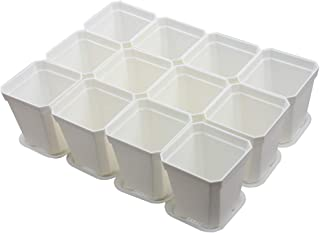 BangQiao 2.70 Inch Square Plastic Flower Pots for Plants, Seedlings, Pack of 12 (White)