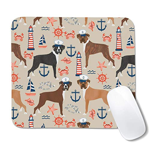 Nautical Anchor Tropical Boxer Dogs Gaming Mouse Pad,Extended Mousepad,Non-Slip Base,Water Resist Keyboard Pad,Desk Mat for Gamer,Office & Home,10.5X12.5 Inch