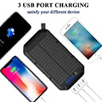 Solar Charger, 25000mAh Battery Solar Power Bank Portable Panel Charger with 36 LEDs and 3 USB Output Ports External Backup Battery for Camping Outdoor for iOS Android (Black) 15 【25000mAh Ultra High Capacity Solar Charger】The solar panel charger built-in 25000mAh Li-polymer battery, it's enough to charge an iPhone XS for 7.4 times, a Galaxy S9 Plus for 5.7 times, an iPad Pro for 1.6 times! 【Two Charging Methods】The Solar charger powerd by 5V/2A adapter(Not included) or solar. The blue indicator light is on when charging with the adapter, and the green indicator light is on when charging with solar panel. 【3-USB Ports for Charger】The solar charging powerbank has three USB ports that can charge three devices at the same time, which is convenient for yourself and your friends.