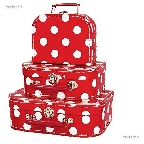 Simply for Kids - Kofferset - 3 Koffertjes - Rood met witte stippen