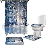 Badmat Set 4 Stuk, 4 Stuks Bos Sneeuw Gedrukt Douchegordijn Tapijt Cover WC Cover Badmat Mat Set Badkamer Gordijn Woondecoratie