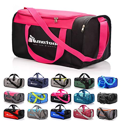 sports bag gym bag holdall men women duffel shoulder fitness bag swimming pool bag travel holiday strap sport bag cabin luggage overnight camping kit bag small 20L large 40L (20 L, Pink)
