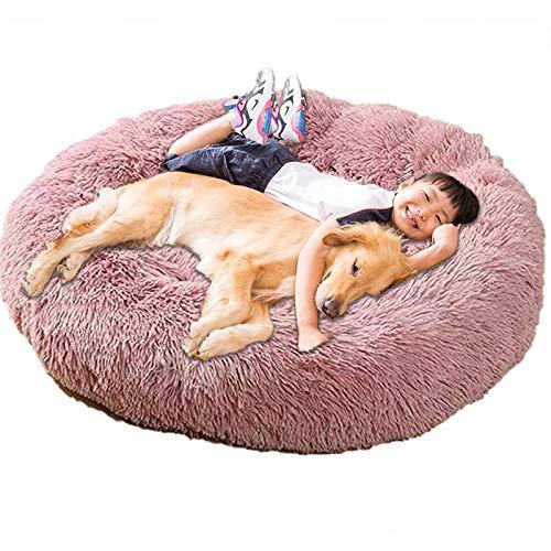 Donut Plush Dog Bed Extra Large XXL Orthopedic Cosy Cushion Calming Wicker Anti Anxiety xxxl Sofa Fluffy Cave Sleep Basket Washable Medium Mattress xl Jumbo grey ZZAY