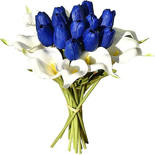 """yueyue947 / 20pcs Artificial 14""""Flores de Tulipanes de látex para la decoración del hogar del Partido Azul y Blanco"""