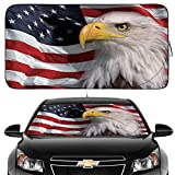 Gven Windshield Shade, Car Sun Shade for Front Windshield Funny American Flag Sunshades Sun Visor Protector Blocks UV Rays Foldable 210T Keep Your Vehicle Cool (American Flag, Large)