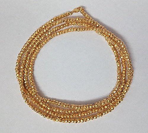 1 ück Gold Pyrit Halskette mit 925 erling Silber Hummer Lock Gold Pyrit Jewelry Halskette Kette 114,3  Lange Halskette 3–4
