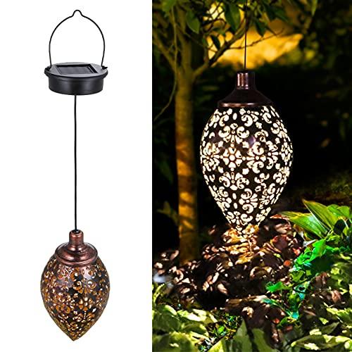 Luces Solares Colgantes, Luces LED para Jardín, Lámpara de Hierro, Lámpara de Proyección, Candelabro de Rugby, Impermeable para Decoración al Aire Libre,
