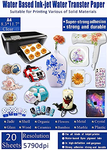 20 Blatt Aufkleber Papier INKJET CLEAR Premium Wassertransfer Transparente bedruckbare Wasserschieber Aufkleber A4 Größe