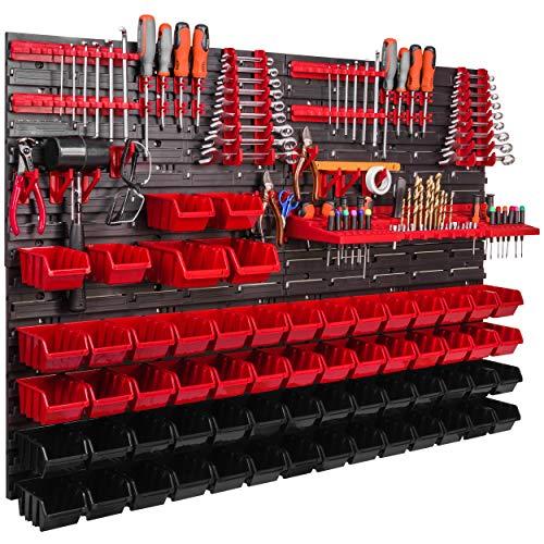 Werkstattregal 1152 x 780 mm Stapelboxen Lagersystem Wandregal Werkzeughalterungen Schüttenregal Sichtlagerkästen Extra Starke Wandplatte Regal Erweiterbar Lagerregal (ITBNN600x4-U2001-MIX31)