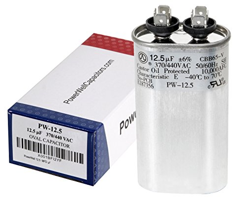 PowerWell 12.5 MFD uf 370 or 440 Volt Fan Motor Run Oval Capacitor PW-12.5/440 Condenser for Air Handler Straight Cool or Heat Pump Air Conditioner - Guaranteed to Last 5 Years