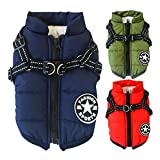 Poseca Dog Clothes for Small Dogs Dog Coat Waterproof Winter Jacket Warm Vest Dog Clothes Dog Coat Winter Dog Jacket with Dog Harness for Small Dogs