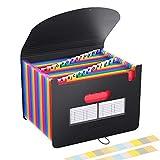 Carpeta Clasificadora Archivador acordeón 24 Bolsillos de gran Capacidad soporte Extensible portátil acordeón, Multi-Color Archivador A4 buen ayudante para Office, School, Home …