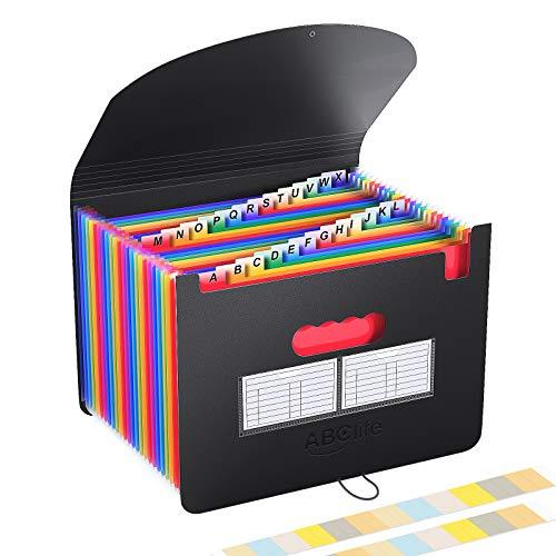 Carpeta Clasificadora Archivador acordeón 24 Bolsillos de gran Capacidad soporte Extensible portátil acordeón, Multi-Color Archivador A4 buen ayudante para Office,...