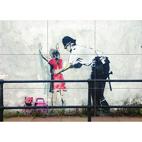 Doppelganger33 LTD Poster Painting Graffiti Banksy Police Search Little Girl Morality Wand Kunst Multi Panel Poster drucken 50x35 Zoll