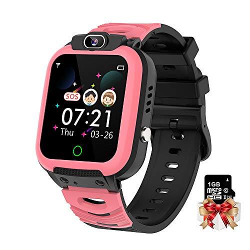 Kinder Smart Watch 1.44 Zoll Touchscreen Kinder Wecker, Kamera, Videos Musik, Spiele Telefon Uhr mit kostenlosen 1GB Micro SD Karte (Rosa)