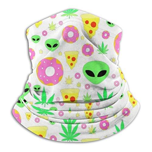 N/A Multifunktionaler Nackenwärmer aus Fleece, wendbar, leicht, Winddicht, Alien Donut Pot Leaf Weed Pizza weiß, Einheitsgröße
