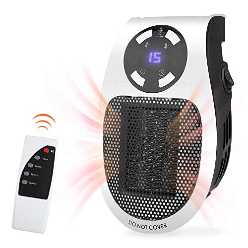 Abhsant Heaters Portable Fan Heater Plug In 500W Electric Heaters with Remote Control, Overheating protection, Low noise operation, Rotatable Plug