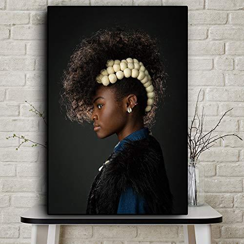 IHlXH Afrikanische Kunst Schwarz und Gold Frau Ölgemälde auf Leinwand Cuadros Poster und Drucke Skandinavische Wandkunst Bild für Wohnzimmer A3 60x90 ohne Rahmen