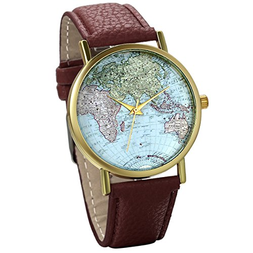 JewelryWe Damen Armbanduhr Retro Weltkarte Globus Karte World Map Leder Band Analog Quarz Uhr Bloggeruhr Geschenk Braun