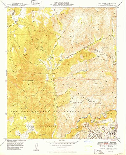 YellowMaps Fallbrook CA topo map, 1:24000 Scale, 7.5 X 7.5 Minute, Historical, 1949, Updated 1949, 26.9 x 22 in - Polypropylene