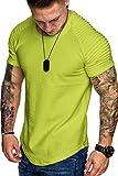 COOFANDY Mens Pleated Sleeve Raglan T-Shirt Workout Gym Shirts Neon Green M