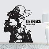 yiyitop One Piece Luffy Cartoon Pegatinas de Pared de Vinilo Arte Wallpaper decoración del hogar Mural de la Pared STI 73 * 78 cm