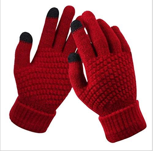 Guantes de Invierno con Pantalla táctil, Guantes de Punto elásticos cálidos para Hombres y Mujeres, Guantes de Dedo Completo, Guantes Femeninos Gruesos-Red
