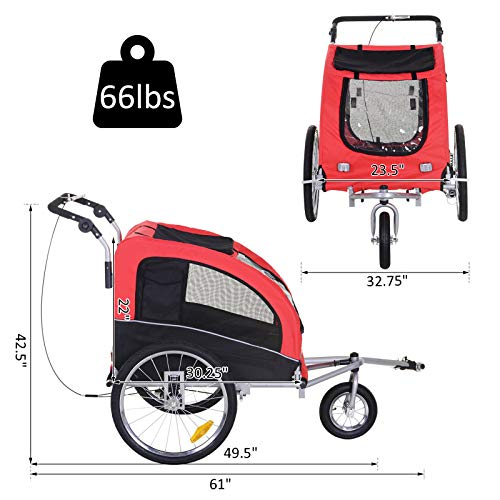 Aosom Elite II Dog Bike Trailer 2-in-1 Pet Stroller Cart Bicycle Wagon Cargo Carrier Attachment for Travel with Suspension and Storage Pockets, Red