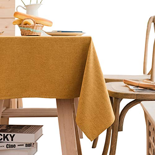 Nappe polyester Nappe rectangulaire Idéal pour table de buffet, Très jolie décoration pour, Repas de fête, Mariage & plus-jaune 90X140cm(35x55inch)