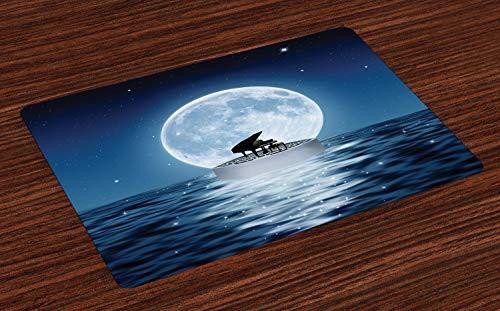 ABAKUHAUS Piano Placemat Set van 4, Music Instrument op Night Sea, Wasbare Stoffen Placemat voor Eettafel, Night Blue Slate Blue