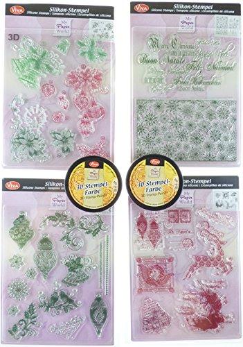 Viva Decor Kerstmis klassieke postzegels en twee 3D-stempels kleur, synthetisch materiaal, carmen rood/mosgroen