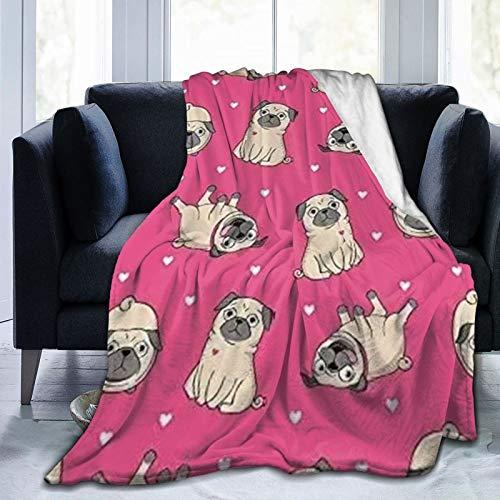 Manta de Pug con patrón, Manta de Microfibra Ultra Suave, Manta Ligera y difusa súper Suave para Cama, sofá, Sala de Estar