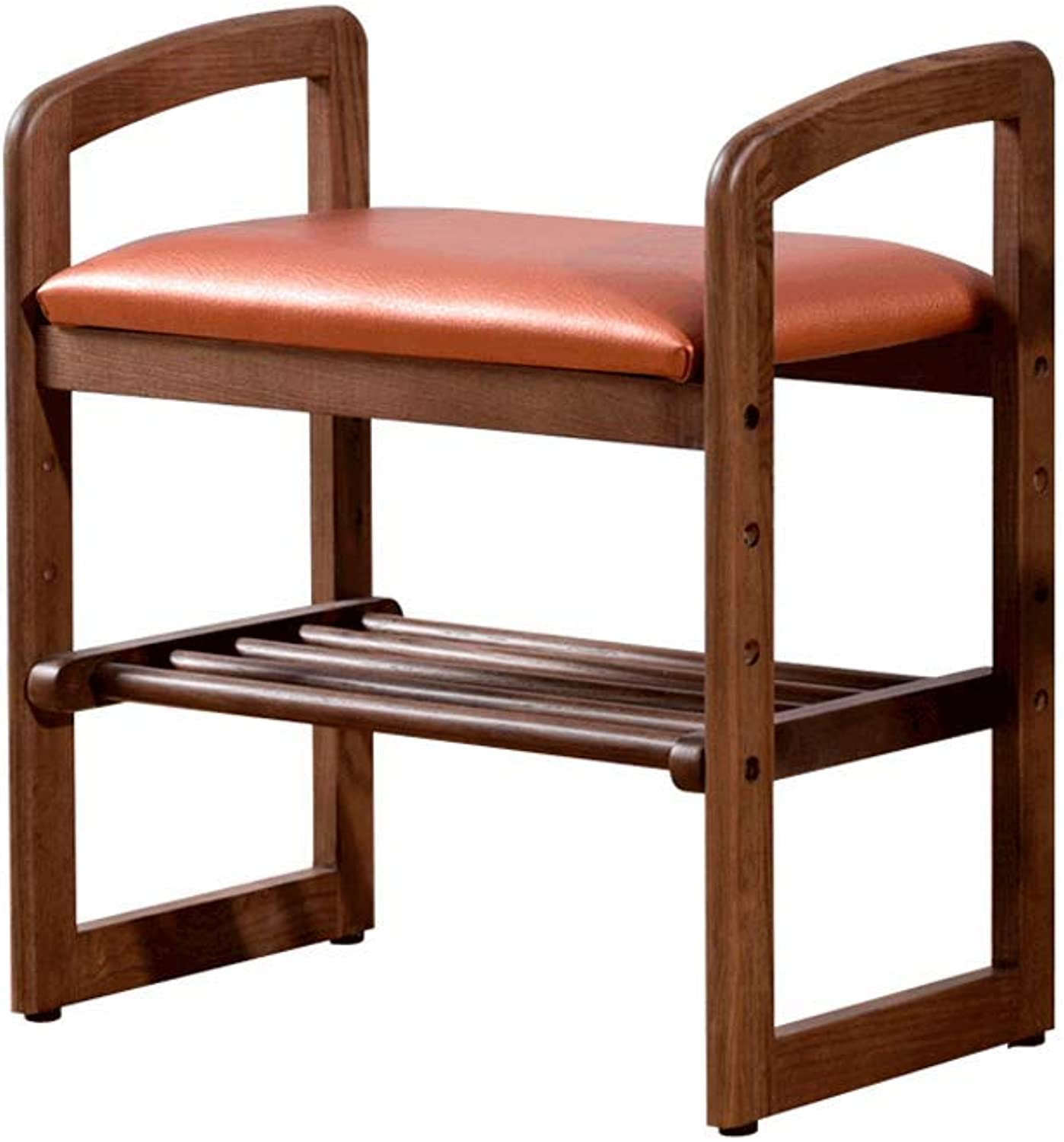Aijl Footstool, Household Solid Wood Change shoes Bench Living Room Footstool Hall shoes Rack Wearing A shoes Bench 50  30  54cm (Brown)