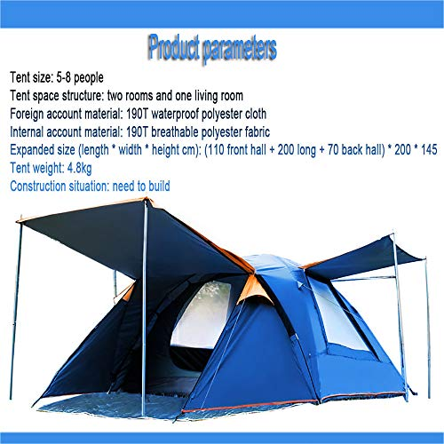 LWLPAI Small Dome Tent With Full Standing Head Height, 100% Waterproof Family Camping Tent With Sewn In Groundsheet,5 To8 Persons Mantent