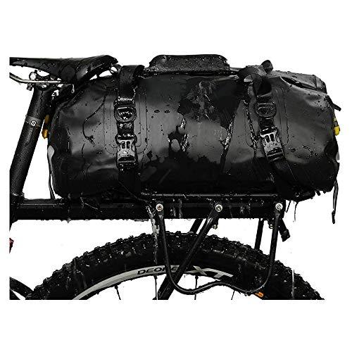 Bolsa de bicicleta 3 en 1 impermeabley reflectante que se puede usar como una bolsa de rejilla para bicicletas una bolsa de hombro y una mochila Bolsa de viaje para bicicleta de 20l,Negro