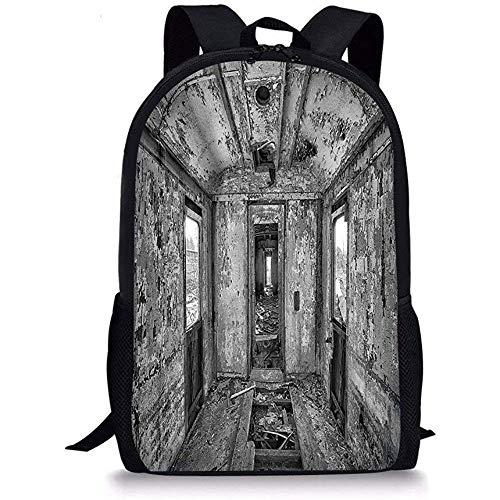 Mei-shop Schultaschen Rustikale WohnkulturInnenraum eines antiken gealterten Eisenbahnwagens Verbranntes ZerstörungsbildSchwarzweiss